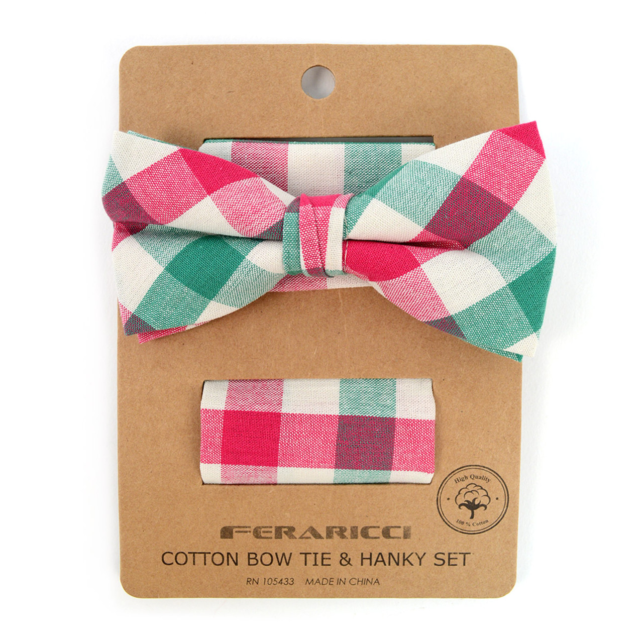 42cd83823d41 Men's Pink Green Plaid Cotton Bow Tie & Matching Pocket Square - CBTH1727