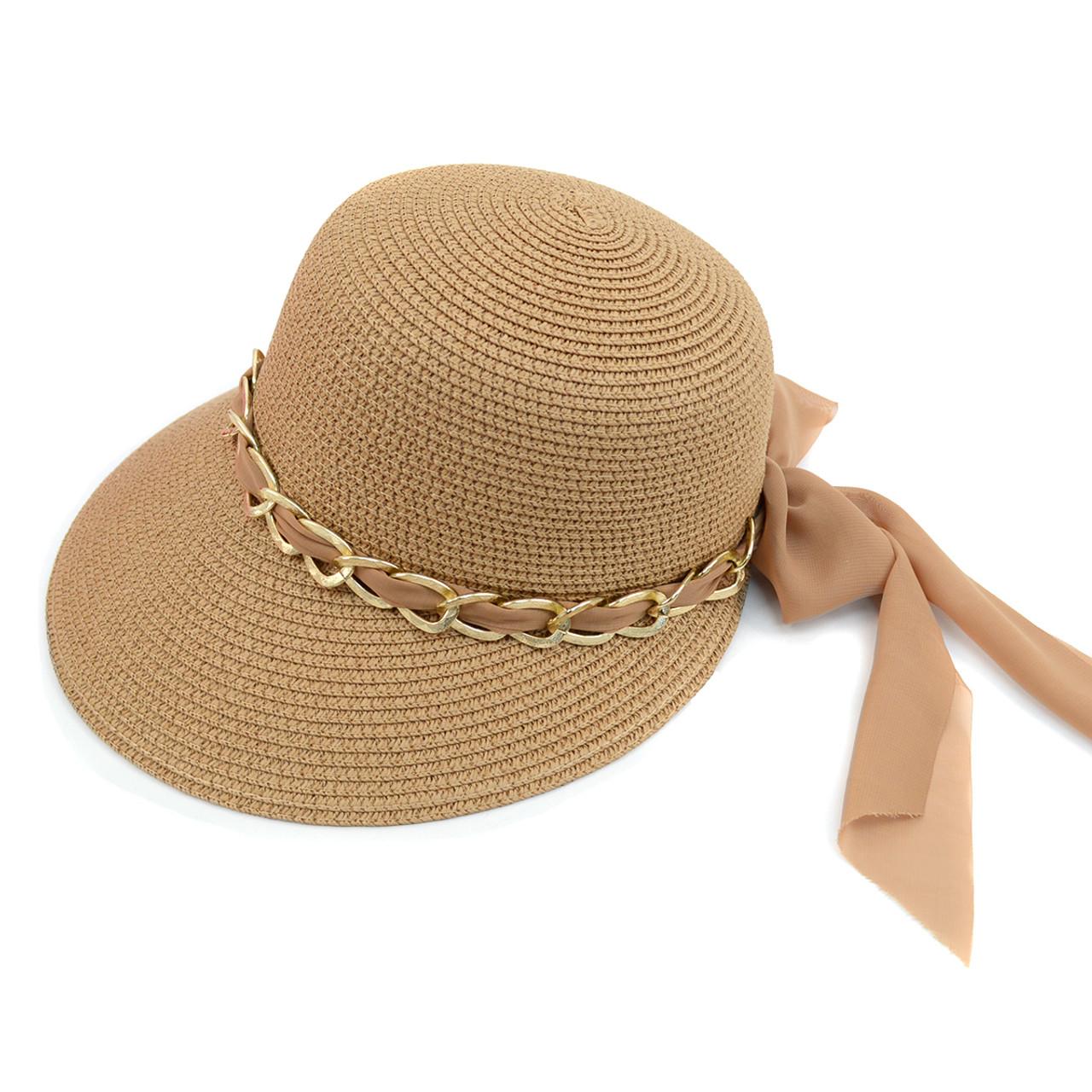 31be30ad Women's Chain & Chiffon Band Small Back Floppy Sun Hat LFH1893