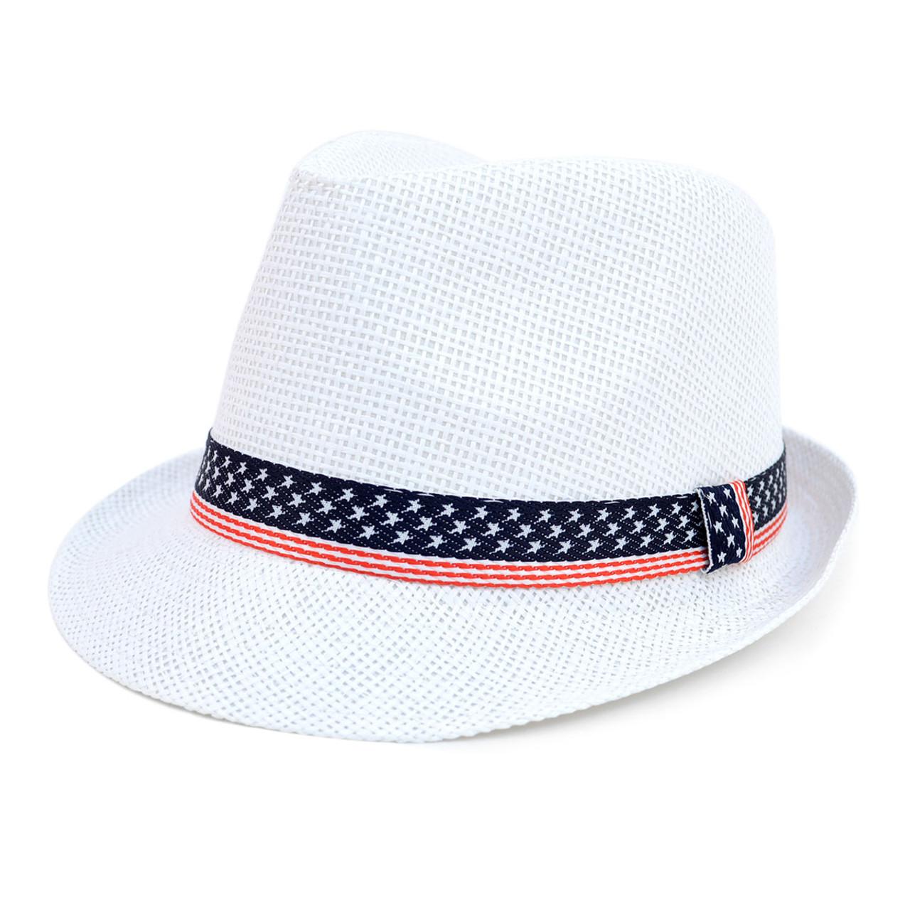 35082e068e8 Spring/Summer White Fedora Hat with Stars & Stripes American Flag ...