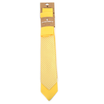 Dots & Solid Yellow Microfiber Poly Woven Two Ties & Hanky Set - TH2X-LT-YW3