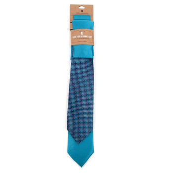 Geometric & Solid Turquoise Microfiber Poly Woven Two Ties & Hanky Set - TH2X-TURQ2