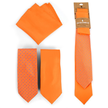 Dots & Solid Orange Microfiber Poly Woven Two Ties & Hanky Set - TH2X-ORG2