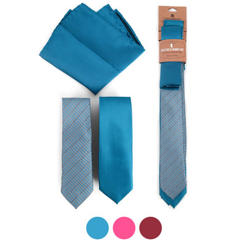 Geometric & Solid Microfiber Poly Woven Two Skinny Ties & Hanky Set - STH2X-1