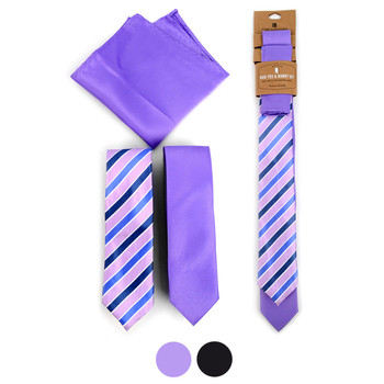 Striped & Solid Microfiber Poly Woven Two Skinny Ties & Hanky Set - STH2X-7