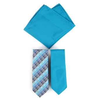 Plaid & Solid Microfiber Poly Woven Two Skinny Ties & Hanky Set - STH2X-10