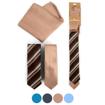 Striped & Solid Microfiber Poly Woven Two Skinny Ties & Hanky Set - STH2X-11