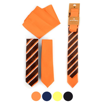 Striped & Solid Microfiber Poly Woven Two Skinny Ties & Hanky Set - STH2X-12
