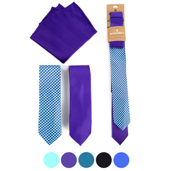 Dots & Solid Microfiber Poly Woven Two Skinny Ties & Hanky Set - STH2X-13