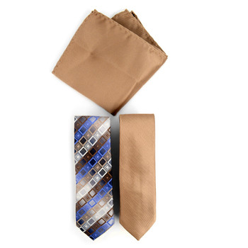 Geometric & Solid Microfiber Poly Woven Two Skinny Ties & Hanky Set - STH2X-14