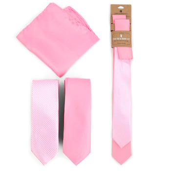 Dots & Solid Pink Microfiber Poly Woven Two Skinny Ties & Hanky Set - STH2X-PK1