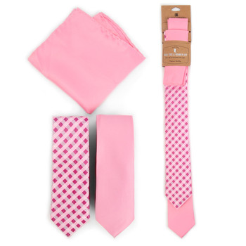 Plaid & Solid Pink Microfiber Poly Woven Two Skinny Ties & Hanky Set - STH2X-PK3