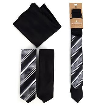 - Striped & Solid Black Microfiber Poly Woven Two Skinny Ties & Hanky Set - STH2X-BK3