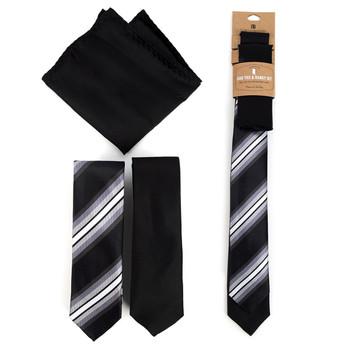 Striped & Solid Black Microfiber Poly Woven Two Skinny Ties & Hanky Set - STH2X-BK4
