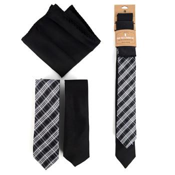 Plaid & Solid Black Microfiber Poly Woven Two Skinny Ties & Hanky Set - STH2X-BK9