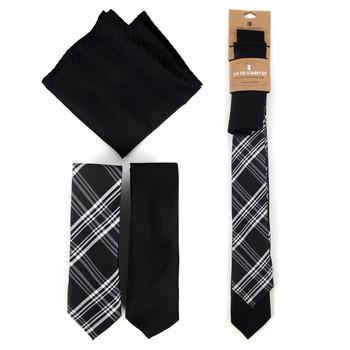 Plaid & Solid Black Microfiber Poly Woven Two Skinny Ties & Hanky Set - STH2X-BK10