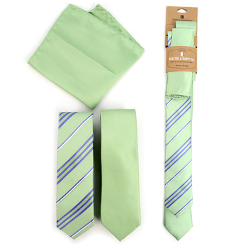 Striped & Solid Light Green Microfiber Poly Woven Two Skinny Ties & Hanky Set - STH2X-L-GR2