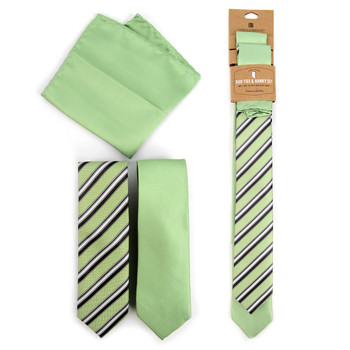 Striped & Solid Light Green Microfiber Poly Woven Two Skinny Ties & Hanky Set - STH2X-L-GR3