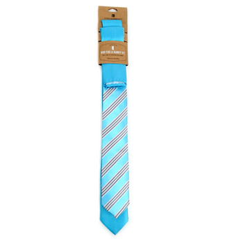 Striped & Solid Aqua Microfiber Poly Woven Two Skinny Ties & Hanky Set - STH2X-AQUA