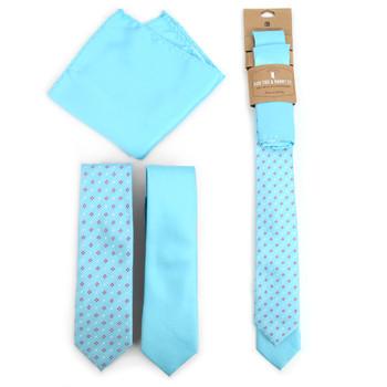 Dots & Solid Aruba Blue Microfiber Poly Woven Two Skinny Ties & Hanky Set - STH2X-ARUBA-BL1