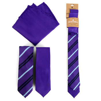 Striped & Solid Purple Microfiber Poly Woven Two Skinny Ties & Hanky Set - STH2X-PUR3