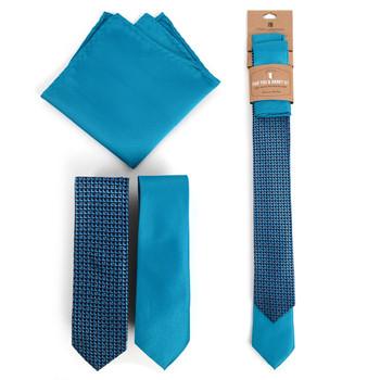 Geometric & Solid Turquoise Microfiber Poly Woven Two Skinny Ties & Hanky Set - STH2X-TURQ2