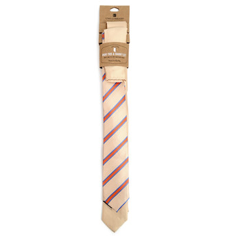 Striped & Solid Microfiber Poly Woven Two Skinny Ties & Hanky Set - STH2X-PCH1