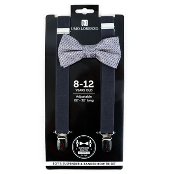 Boy's Gray Clip-on Suspender & Plaid Bow Tie Set - BSBS-GRY2