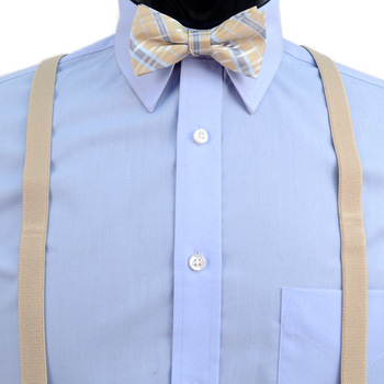 Boy's Khaki Clip-on Suspender & Plaid Bow Tie Set - BSBS-KHAKI1