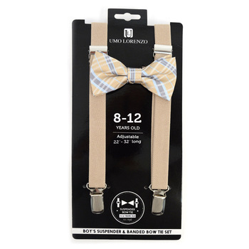 Boy's Khaki Clip-on Suspender & Plaid Bow Tie Set - BSBS-KHAKI1