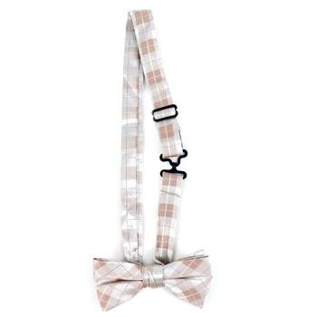 Boy's Khaki Clip-on Suspender & Plaid Bow Tie Set - BSBS-KHAKI3