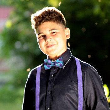 Boy's Lavender Clip-on Suspender & Geometric Bow Tie Set - BSBS-LAV2