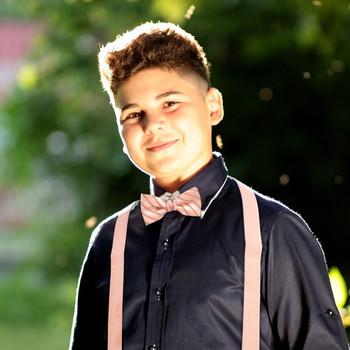 Boy's Peach Clip-on Suspender & Striped Bow Tie Set - BSBS-PH2