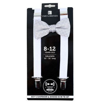 Boy's White Clip-on Suspender & Striped Bow Tie Set - BSBS-WH1