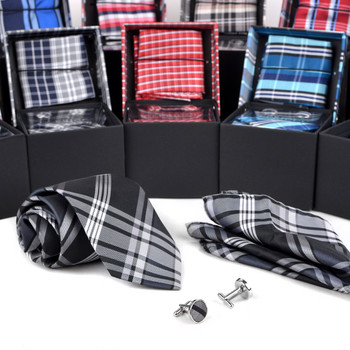 12pc Plaid Poly Woven Tie, Hanky & Cufflink Set PWFB6000