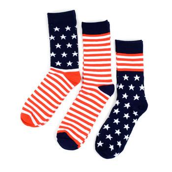 3 Pairs Pack Men's American Flag Novelty Socks - 3PKS-MAF