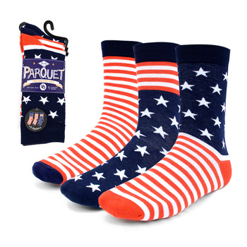 3 Pairs Pack Men's American Flag Novelty Socks - 3PKS-MAF
