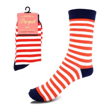 Women's Red & White Stripes Novelty Socks - LNVS1819