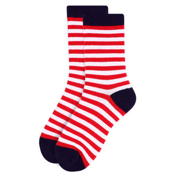 Women's Red & White Stripes Novelty Socks - LNVS1819