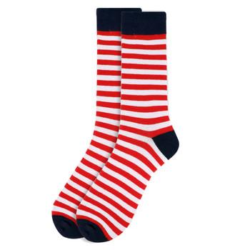 Men's Red & White Stripes Novelty Socks - NVS1819