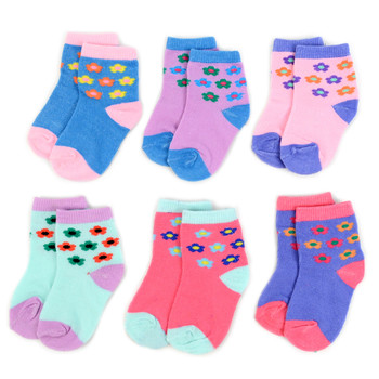 6 Pairs Assorted Infant Girl's Flower Pattern Socks 0-3 Yrs - 12PKS-IFS1-03