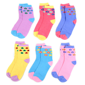 6 Pairs Assorted Kids Girl's Flower Pattern Socks 4-7 Yrs - 12PKS-KFS1-47
