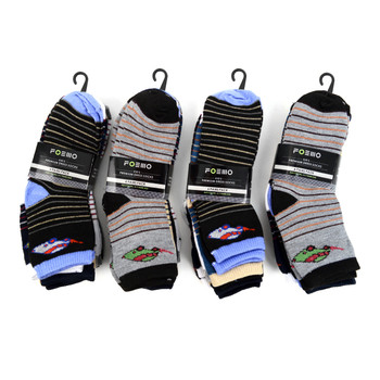 6 Pairs Assorted Kids Boy's Striped Pattern Socks 4-7 Yrs - 12PKS-TFS2-47