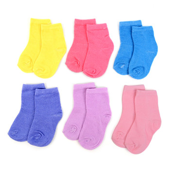 6 Pairs Assorted Solid Color Infant Socks 0-3 Yrs - GSS12ASST03
