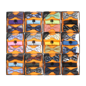 12pc Prepack Assorted Men's Pretied Duo Bow Ties and Matching Hanky BTHB-DUO