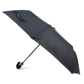 Black Compact Umbrella with Rubberized Curve Handle - UM5007