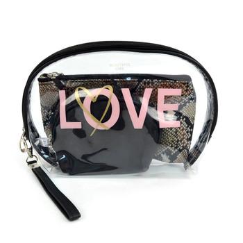 Ladies  Love Makeup Bag 3pc Set Cosmetic & Toiletry Bags - LNCTB1715