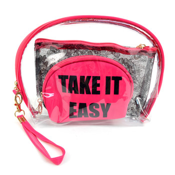"Ladies  ""Take It Easy""  Makeup Bag 3pc Set Cosmetic & Toiletry Bags - LNCTB1717"
