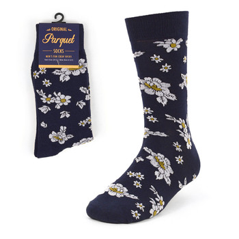 Navy Floral Wedding Novelty Crew Socks - VC17124