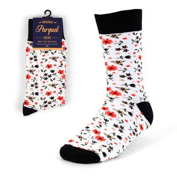 White Floral Wedding Novelty Crew Socks - VC17135