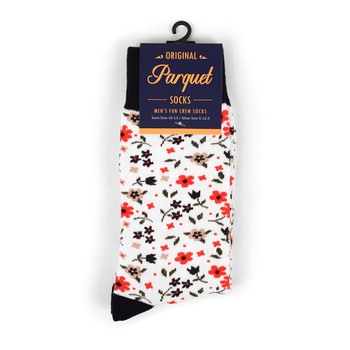 White Floral Wedding Novelty Crew Socks - VC17135